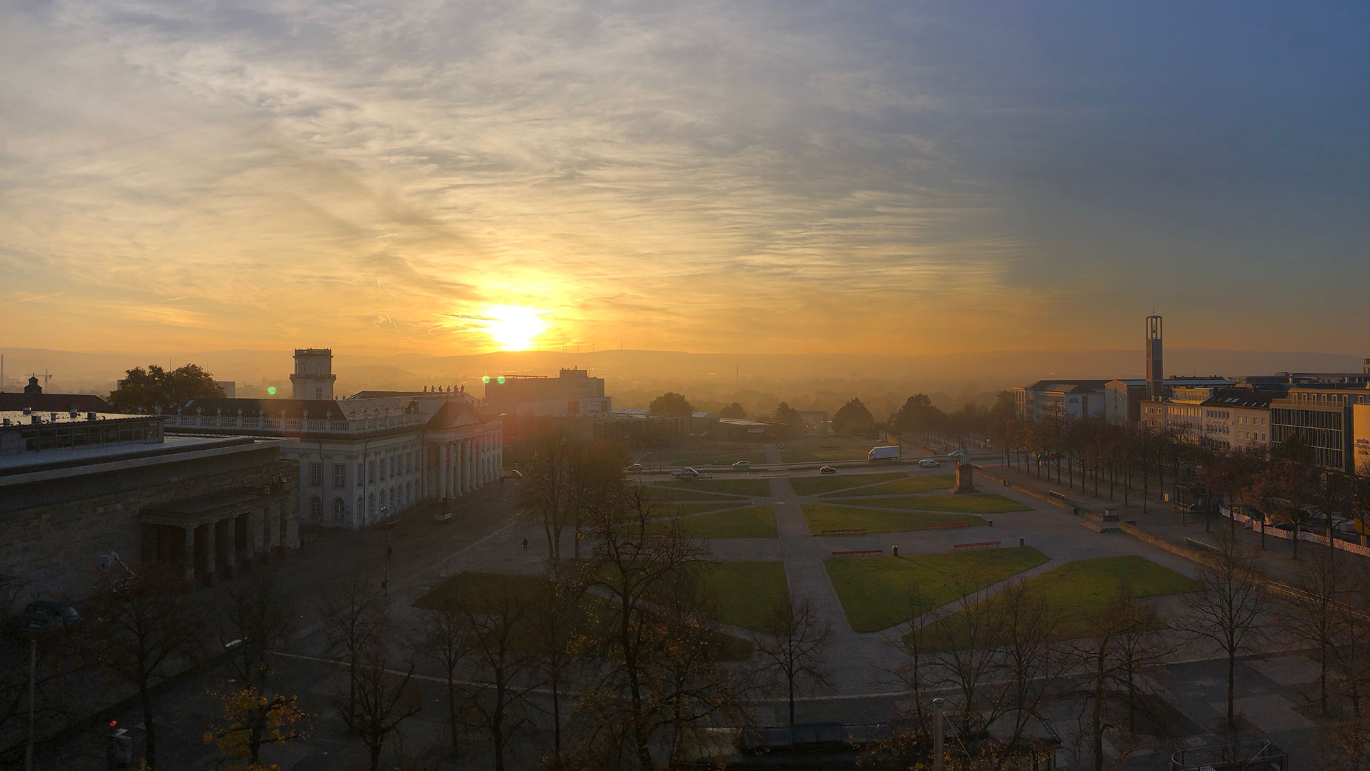Sunrise in Kassel's downtown